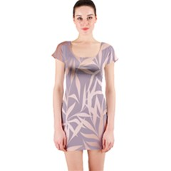 Rose Gold, Asian,leaf,pattern,bamboo Trees, Beauty, Pink,metallic,feminine,elegant,chic,modern,wedding Short Sleeve Bodycon Dress