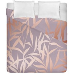 Rose Gold, Asian,leaf,pattern,bamboo Trees, Beauty, Pink,metallic,feminine,elegant,chic,modern,wedding Duvet Cover Double Side (california King Size)