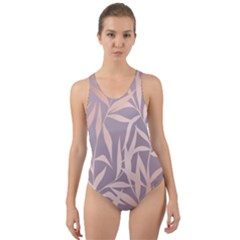 Rose Gold, Asian,leaf,pattern,bamboo Trees, Beauty, Pink,metallic,feminine,elegant,chic,modern,wedding Cut Out Back One Piece Swimsuit