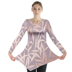 Rose Gold, Asian,leaf,pattern,bamboo Trees, Beauty, Pink,metallic,feminine,elegant,chic,modern,wedding Long Sleeve Tunic  by 8fugoso