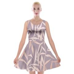 Rose Gold, Asian,leaf,pattern,bamboo Trees, Beauty, Pink,metallic,feminine,elegant,chic,modern,wedding Velvet Skater Dress