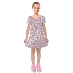 Rose Gold, Asian,leaf,pattern,bamboo Trees, Beauty, Pink,metallic,feminine,elegant,chic,modern,wedding Kids  Short Sleeve Velvet Dress