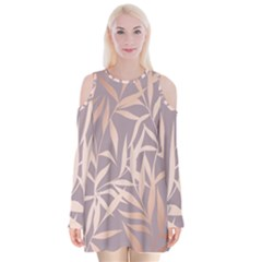 Rose Gold, Asian,leaf,pattern,bamboo Trees, Beauty, Pink,metallic,feminine,elegant,chic,modern,wedding Velvet Long Sleeve Shoulder Cutout Dress