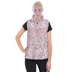 Rose Gold, Asian,leaf,pattern,bamboo Trees, Beauty, Pink,metallic,feminine,elegant,chic,modern,wedding Women s Button Up Puffer Vest