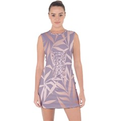 Rose Gold, Asian,leaf,pattern,bamboo Trees, Beauty, Pink,metallic,feminine,elegant,chic,modern,wedding Lace Up Front Bodycon Dress