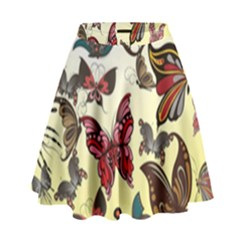 Colorful Butterflies High Waist Skirt by AllThingsEveryone