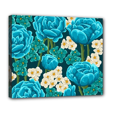 Light Blue Roses And Daisys Deluxe Canvas 24  X 20   by allthingseveryone