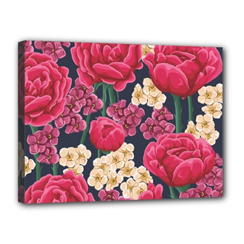Pink Roses And Daisies Canvas 16  X 12