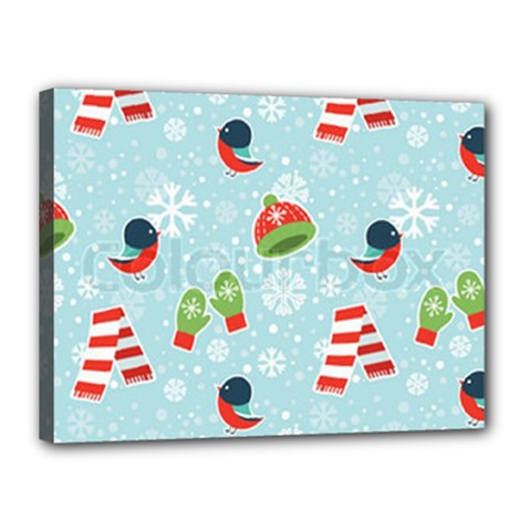 Winter Fun Pattern Canvas 16  X 12  by AllThingsEveryone