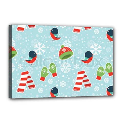 Winter Fun Pattern Canvas 18  X 12  by AllThingsEveryone