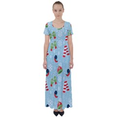Winter Fun Pattern High Waist Short Sleeve Maxi Dress