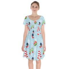 Winter Fun Pattern Short Sleeve Bardot Dress by AllThingsEveryone