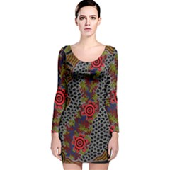 Aboriginal Art   Waterholes Long Sleeve Velvet Bodycon Dress by hogartharts