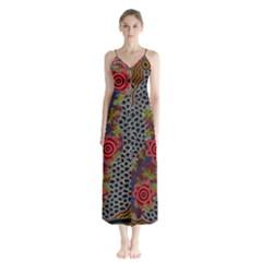 Aboriginal Art   Waterholes Button Up Chiffon Maxi Dress
