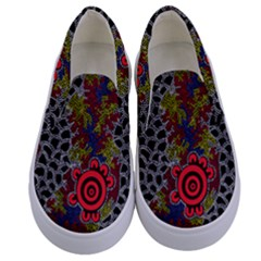Aboriginal Art   Meeting Places Kids  Canvas Slip Ons