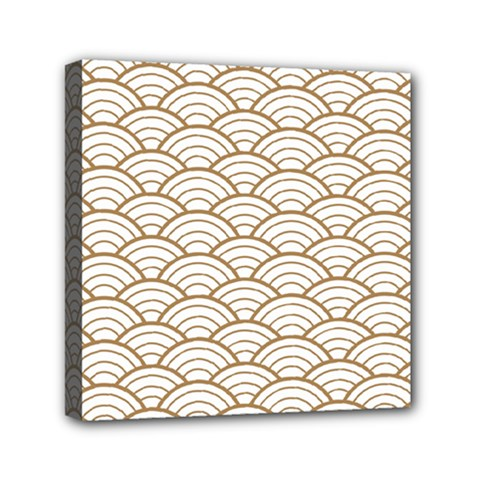 Art Deco,japanese Fan Pattern, Gold,white,vintage,chic,elegant,beautiful,shell Pattern, Modern,trendy Mini Canvas 6  X 6  by 8fugoso