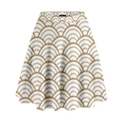 Art Deco,japanese Fan Pattern, Gold,white,vintage,chic,elegant,beautiful,shell Pattern, Modern,trendy High Waist Skirt by 8fugoso