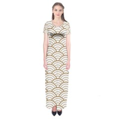 Art Deco,japanese Fan Pattern, Gold,white,vintage,chic,elegant,beautiful,shell Pattern, Modern,trendy Short Sleeve Maxi Dress by 8fugoso