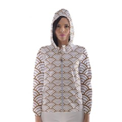 Art Deco,japanese Fan Pattern, Gold,white,vintage,chic,elegant,beautiful,shell Pattern, Modern,trendy Hooded Wind Breaker (women) by 8fugoso