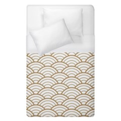 Art Deco,japanese Fan Pattern, Gold,white,vintage,chic,elegant,beautiful,shell Pattern, Modern,trendy Duvet Cover (single Size) by 8fugoso