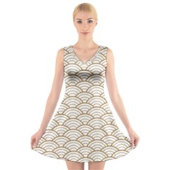 Art Deco,japanese Fan Pattern, Gold,white,vintage,chic,elegant,beautiful,shell Pattern, Modern,trendy V Neck Sleeveless Skater Dress by 8fugoso