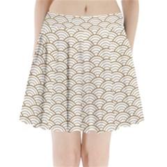 Art Deco,japanese Fan Pattern, Gold,white,vintage,chic,elegant,beautiful,shell Pattern, Modern,trendy Pleated Mini Skirt by 8fugoso