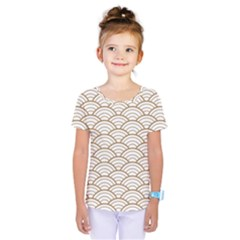 Art Deco,japanese Fan Pattern, Gold,white,vintage,chic,elegant,beautiful,shell Pattern, Modern,trendy Kids  One Piece Tee by 8fugoso