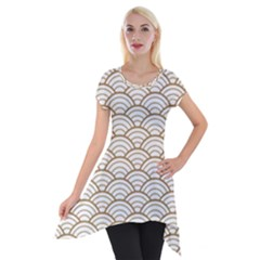 Art Deco,japanese Fan Pattern, Gold,white,vintage,chic,elegant,beautiful,shell Pattern, Modern,trendy Short Sleeve Side Drop Tunic by 8fugoso
