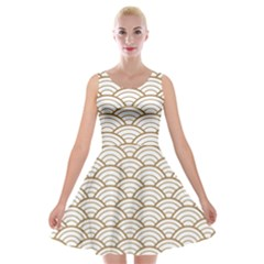 Art Deco,japanese Fan Pattern, Gold,white,vintage,chic,elegant,beautiful,shell Pattern, Modern,trendy Velvet Skater Dress by 8fugoso