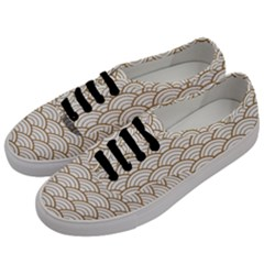 Art Deco,japanese Fan Pattern, Gold,white,vintage,chic,elegant,beautiful,shell Pattern, Modern,trendy Men s Classic Low Top Sneakers by 8fugoso