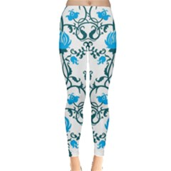 Art Nouveau, Art Deco, Floral,vintage,blue,green,white,beautiful,elegant,chic,modern,trendy,belle Époque Leggings  by 8fugoso