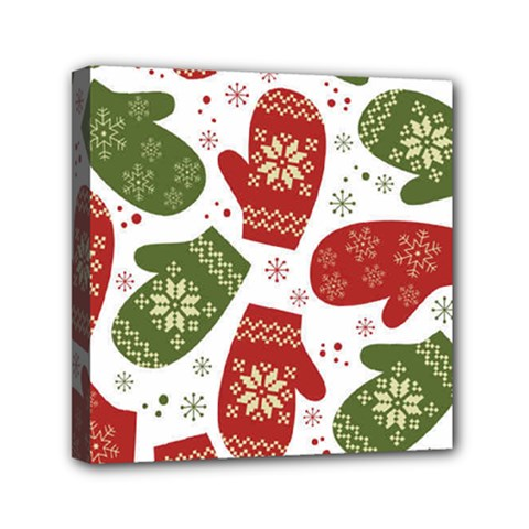 Winter Snow Mittens Mini Canvas 6  X 6  by AllThingsEveryone