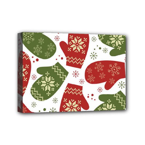 Winter Snow Mittens Mini Canvas 7  X 5  by allthingseveryone