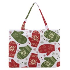 Winter Snow Mittens Zipper Medium Tote Bag by allthingseveryone