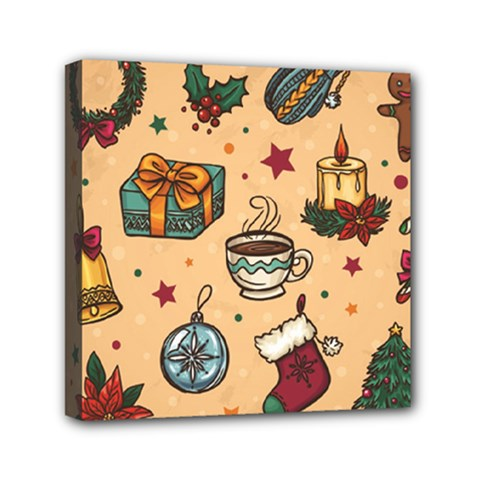 Cute Vintage Christmas Pattern Mini Canvas 6  X 6  by allthingseveryone