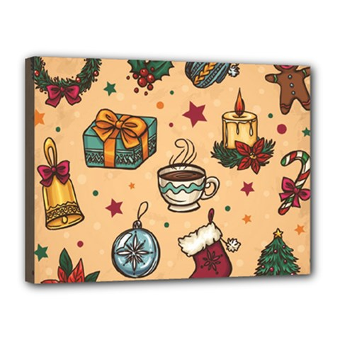 Cute Vintage Christmas Pattern Canvas 16  X 12  by AllThingsEveryone