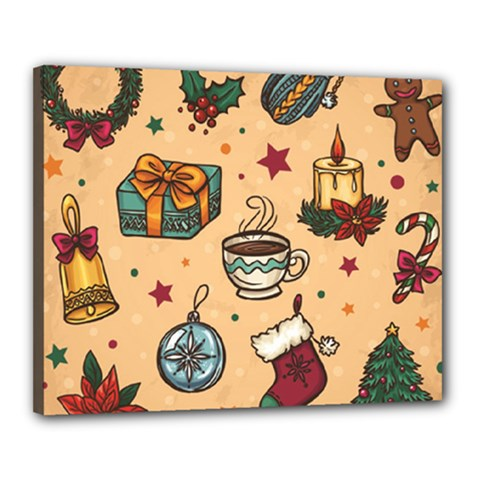Cute Vintage Christmas Pattern Canvas 20  X 16  by allthingseveryone