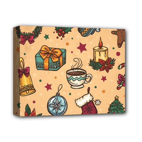Cute Vintage Christmas Pattern Deluxe Canvas 14  X 11  by allthingseveryone