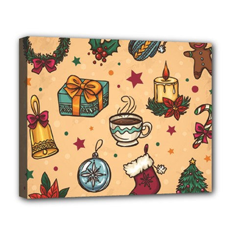 Cute Vintage Christmas Pattern Deluxe Canvas 20  X 16   by AllThingsEveryone