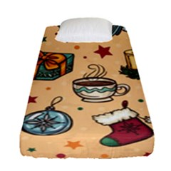 Cute Vintage Christmas Pattern Fitted Sheet (single Size) by allthingseveryone