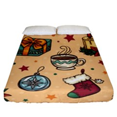 Cute Vintage Christmas Pattern Fitted Sheet (queen Size) by allthingseveryone
