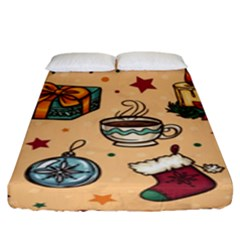 Cute Vintage Christmas Pattern Fitted Sheet (king Size) by AllThingsEveryone