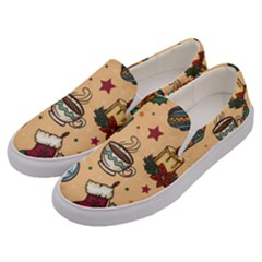 Cute Vintage Christmas Pattern Men s Canvas Slip Ons by allthingseveryone