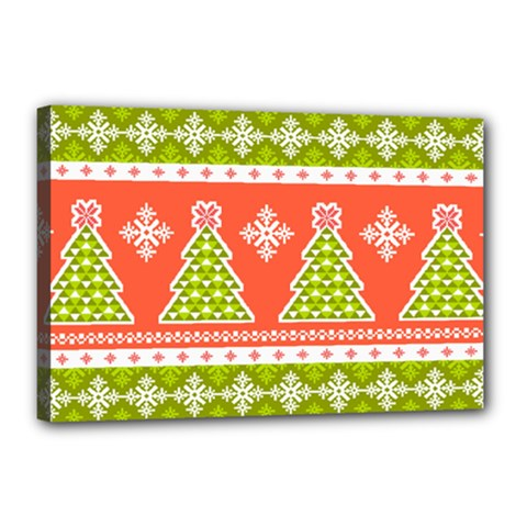Christmas Tree Ugly Sweater Pattern Canvas 18  X 12  by AllThingsEveryone