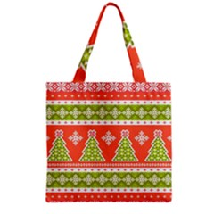 Christmas Tree Ugly Sweater Pattern Grocery Tote Bag by AllThingsEveryone