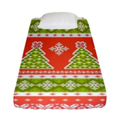 Christmas Tree Ugly Sweater Pattern Fitted Sheet (single Size) by AllThingsEveryone