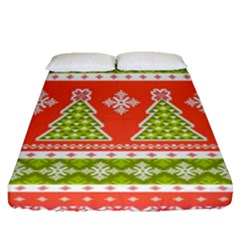 Christmas Tree Ugly Sweater Pattern Fitted Sheet (queen Size) by AllThingsEveryone