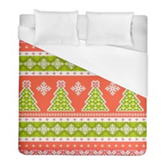 Christmas Tree Ugly Sweater Pattern Duvet Cover (full/ Double Size) by allthingseveryone