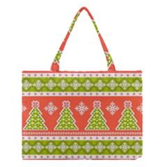 Christmas Tree Ugly Sweater Pattern Medium Tote Bag by AllThingsEveryone