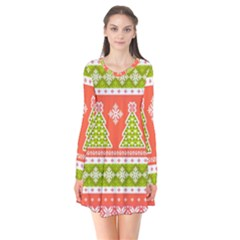 Christmas Tree Ugly Sweater Pattern Flare Dress by AllThingsEveryone